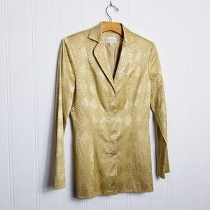 Cach'e Blazer Women's Snake Print Metallic Gold